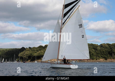 Falmouth 18 ft Restricted Class, No.2, 'Magpie' in the entrance to the Percuil River, St. Mawes, Cornwall, England - Stock Photo