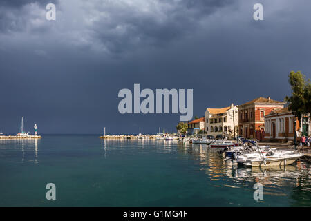 Storm passing, Gaios harbour, Paxos, Ionian Islands, Greece - Stock Photo