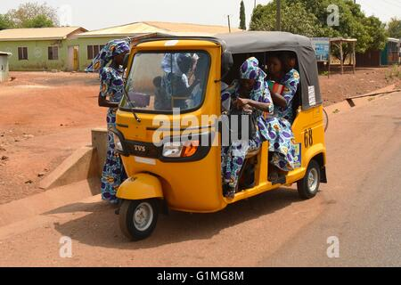 Ghana TroTro - the newly invented Three-Bikes operating now also in Northern Ghana - Stock Photo