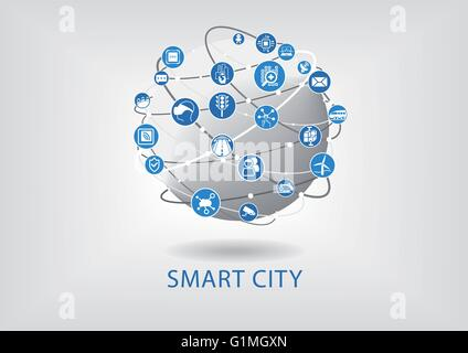 Smart city infographic - Stock Photo