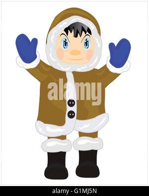 Man eskimo in warm cloth on white background - Stock Photo
