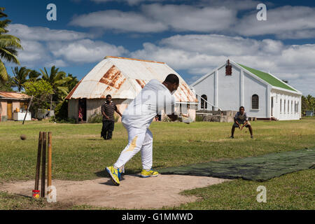 What the British left the Fijians! Wednesday cricket match on the strip in front of the Methodist Church and Kelepi - Stock Photo