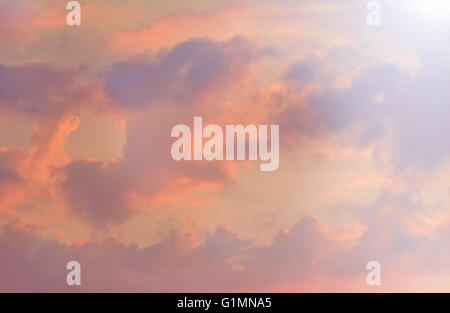 Beauty pink clouds in sunset miracle sky - Stock Photo