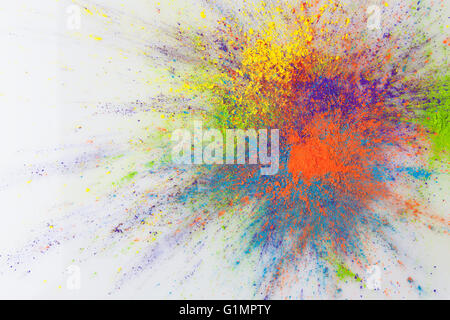 Color explosion concept. Colorful Holi powder exploding on white background with copy space.