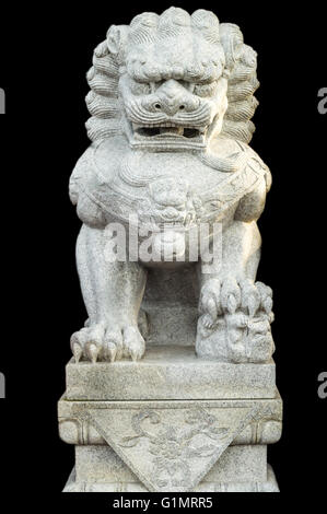 A stone Chinese lion sculpture - Stock Photo
