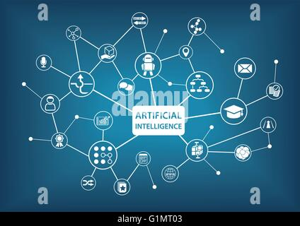 Artificial Intelligence (AI) infographic vector illustration - Stock Photo