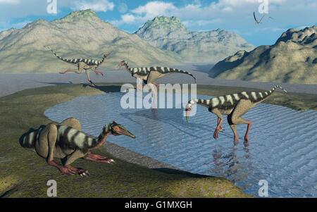 A Gathering Of Pelecanimimus Dinosaurs. - Stock Photo