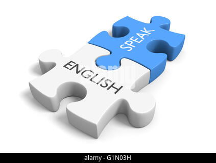 Two connected puzzle pieces with the words speak and English, 3D rendering - Stock Photo