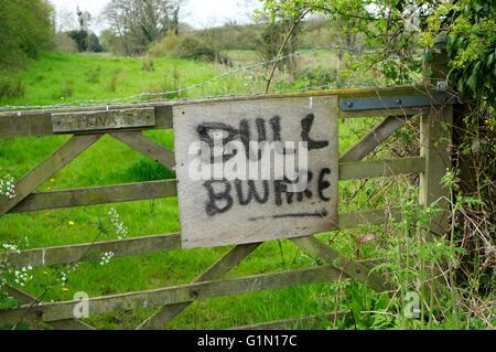 bull beware sign on farm gate, norfolk, england - Stock Photo