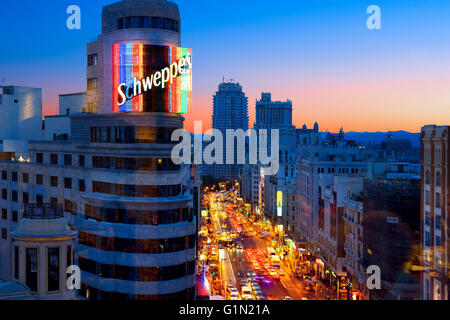 The Gran Via in Madrid - Stock Photo