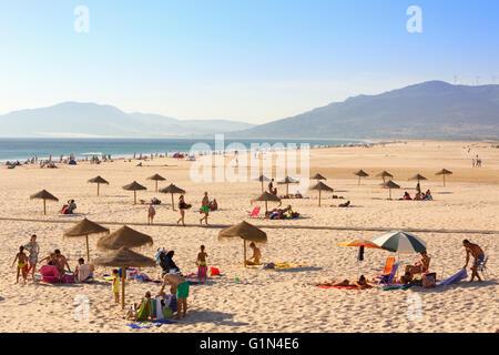 Tarifa, Cadiz Province, Costa de la Luz, Andalusia, southern Spain. Playa de los Lances. - Stock Photo