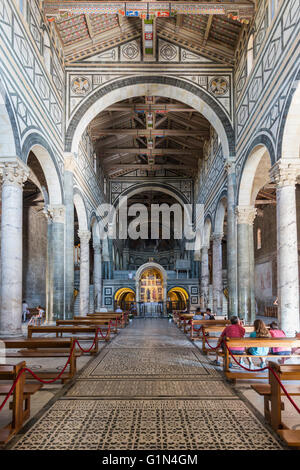 Florence, Florence Province, Tuscany, Italy.  San Miniato al Monte.  Interior. - Stock Photo