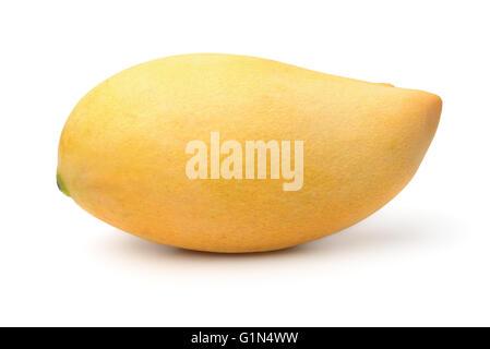 Ripe yellow mango fruit isolated on white - Stock Photo