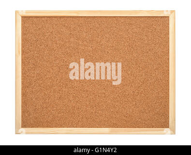 Blank cork board with wood frame isolated on white - Stock Photo
