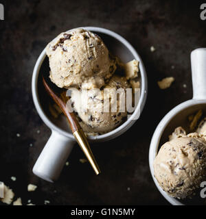 coffee halva chocolate chip ice cream - Stock Photo