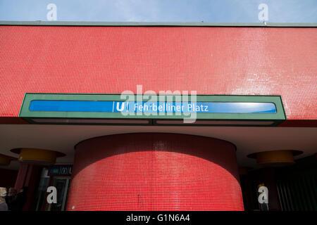 Metro station at Fehrbelliner Platz in Berlin - Stock Photo