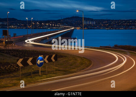 Looking over the Tay Road Bridge from Fife towards Dundee at dusk - Stock Photo