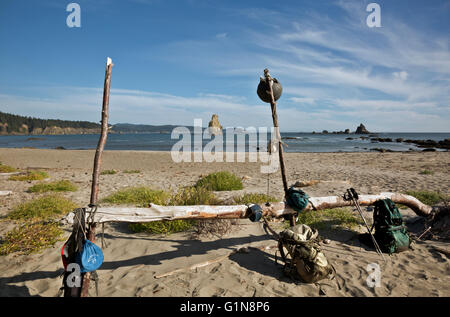 WASHINGTON - Campsite at Toleak Point with all the conveniences of home along the wilderness coast of Olympic National - Stock Photo