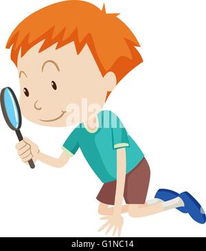 Little boy looking through magnifying glass illustration - Stock Photo