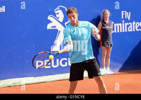 BARCELONA - APR 20: Pablo Carreno Busta (Spanish tennis player) plays at the ATP Barcelona. - Stock Photo
