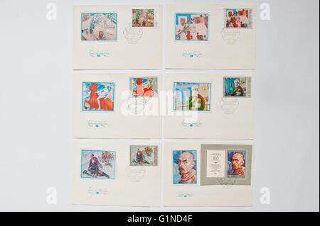 UZHGOROD, UKRAINE - CIRCA MAY, 2016: Set of different letters with stamps of USSR post - Stock Photo
