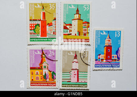 UZHGOROD, UKRAINE - CIRCA MAY, 2016: Collection of postage stamps printed in Bulgaria shows clock tower Kula, circa - Stock Photo