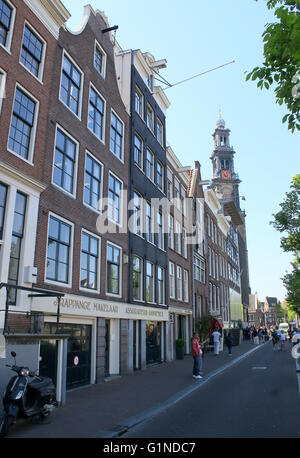 Prinsengracht canal with Anne Frankhuis - Anne Frank Museum at  Amsterdam, Jordaan, Area, Netherlands. Westerkerk - Stock Photo