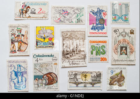 UZHGOROD, UKRAINE - CIRCA MAY, 2016: Collection of post stamps printed in Czechoslovakia, Czecho-Slovakia or Ceskoslovensko, - Stock Photo