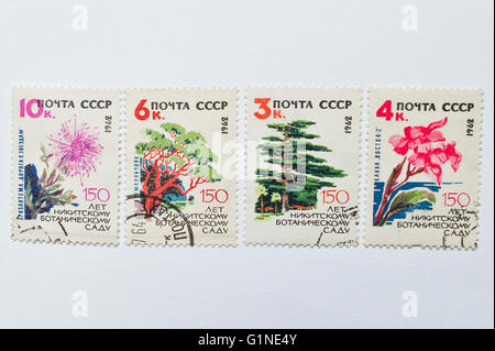 UZHGOROD, UKRAINE - CIRCA MAY, 2016: Collection of postage stamps printed in USSR, shows 150th anniversary of Nikitsky - Stock Photo