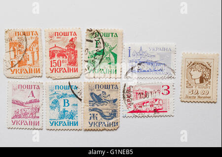 UZHGOROD, UKRAINE - CIRCA MAY, 2016: Collection of postage stamps printed in Ukraine, circa 1992-1994 - Stock Photo