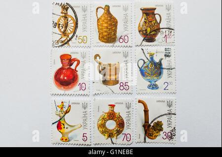 UZHGOROD, UKRAINE - CIRCA MAY, 2016: Collection of postage stamps printed in Ukraine, shows pottery, circa 2000 - Stock Photo