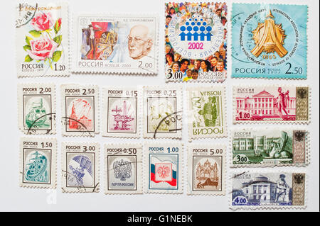 UZHGOROD, UKRAINE - CIRCA MAY, 2016: Collection of postage stamps printed in Russia, circa 1998-2003 - Stock Photo
