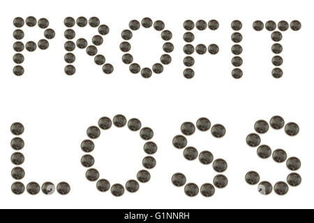 The words Profit and Loss created from coins photographed against a white background. - Stock Photo
