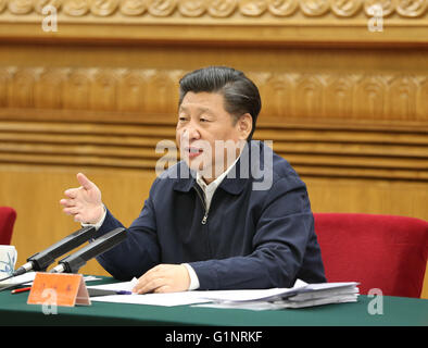Beijing, China. 17th May, 2016. Chinese President Xi Jinping addresses a symposium discussing the country's work - Stock Photo