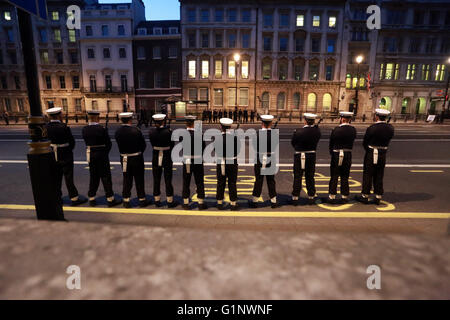 London, UK. 17th May, 2016. Naval personnel wait for instructions of their positions in Whitehall at The State Opening - Stock Photo