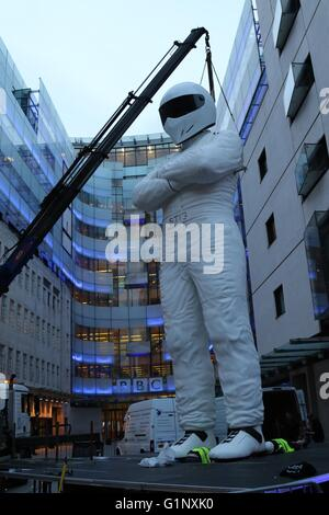 London, UK. 17th May, 2016. A huge model of the Stig is erected outside the BBC in London. Credit:  David Johnson/Alamy - Stock Photo