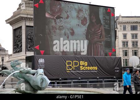 Trafalgar Square, London, UK 18 May 2016. Preparations for Royal Opera House BP Big Screens 2016 underway in Trafalgar - Stock Photo