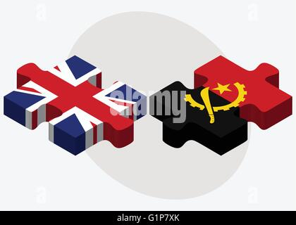 United Kingdom and Angola Flags in puzzle  isolated on white background - Stock Photo