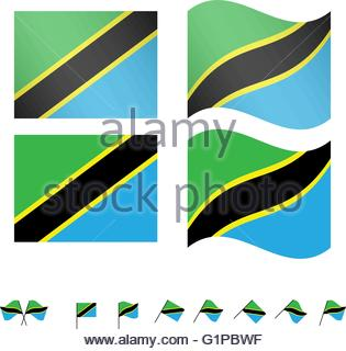 Tanzania Flags EPS 10 - Stock Photo