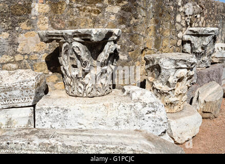 Detail of the capitals of the Corinthian order roman temple in Cordoba, Spain - Stock Photo