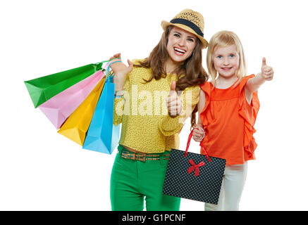Colourful vibes of family shopping. Portrait of happy mother and ...