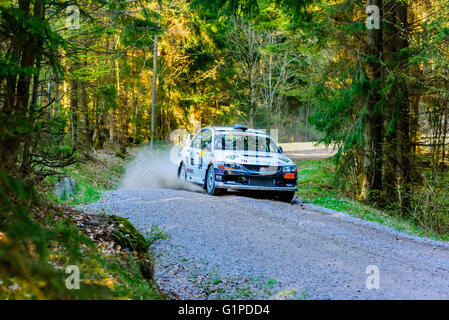 Karlskrona, Sweden - May 6, 2016: 41st South Swedish Rally in the woods outside town on gravel road on special stage - Stock Photo