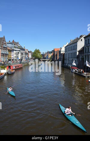 Kayaks on the river of Ghent, Belgium - Stock Photo
