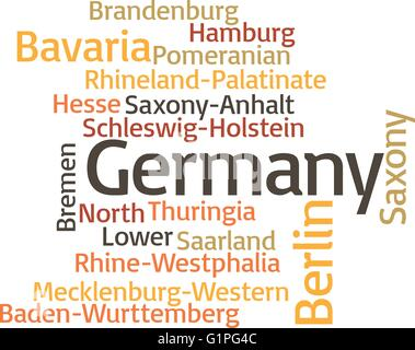 illustration in word clouds of principal subdivisions of Germany - Stock Photo