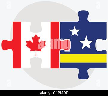 Canada and Curacao Flags in puzzle isolated on white background - Stock Photo