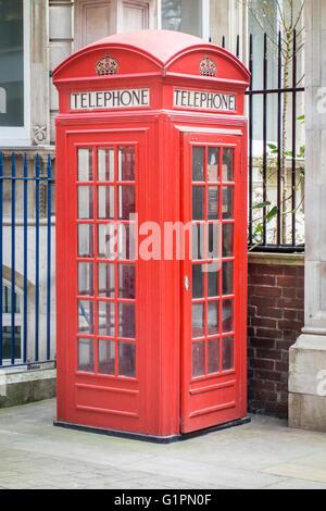 Red Telephone Box Kiosk Number 2 (K2) designed by Giles Gilbert Scott, London, UK - Stock Photo
