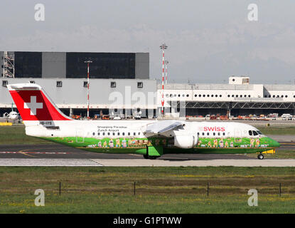 Swiss Global Air Lines, British Aerospace Avro 146-RJ100. Photographed at Malpensa airport, Milan, Italy - Stock Photo