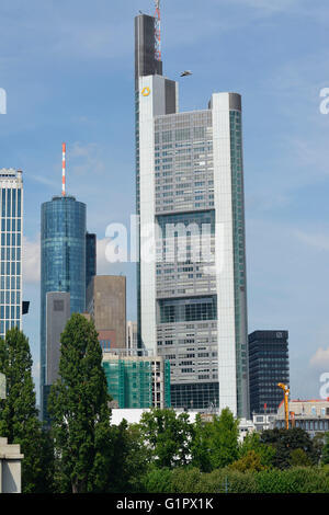 Commerzbank Tower, Grosse Gallusstrasse, Frankfurt on the main, Hesse, Germany - Stock Photo