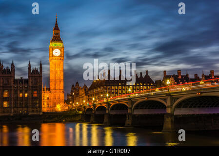 Stunning lights around Westminster Bridge and Big Ben at dusk, London, UK. - Stock Photo