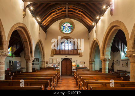 Interior of All Hallows church in Tillington near Petworth, West Sussex, England. - Stock Photo
